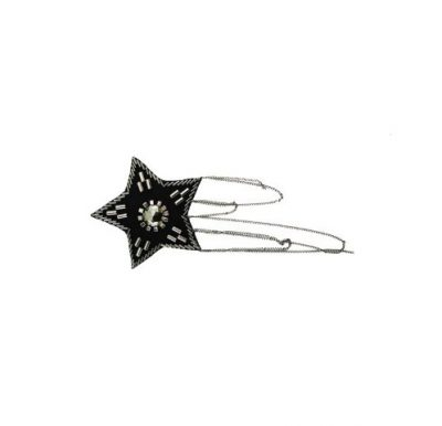 Star-shaped black epaulet with silver cylinder beads & chains