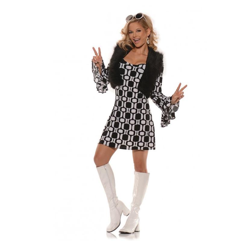 Hip chick 70's mini dress & faux fur vest