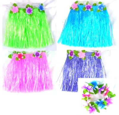 Imitation Raffia Hula Skirt & Flower Set