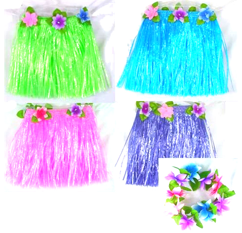 Imitation Raffia Hula Skirt & Flower Set