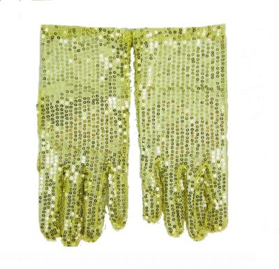 Gold metallic sequin gloves