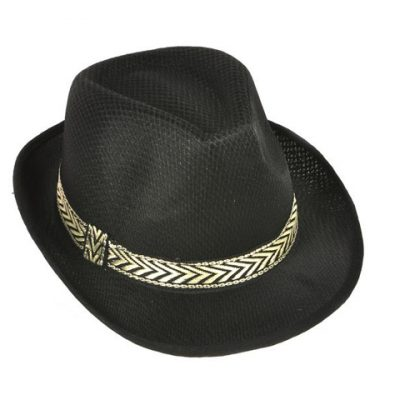 Black Mesh Fedora w/ Fabric Band