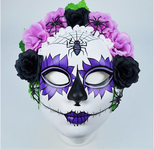 Day of the Dead Full Face w/ flowers
