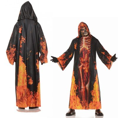 Potot Real Hooded Robe w/ Skeleton Inferno Print
