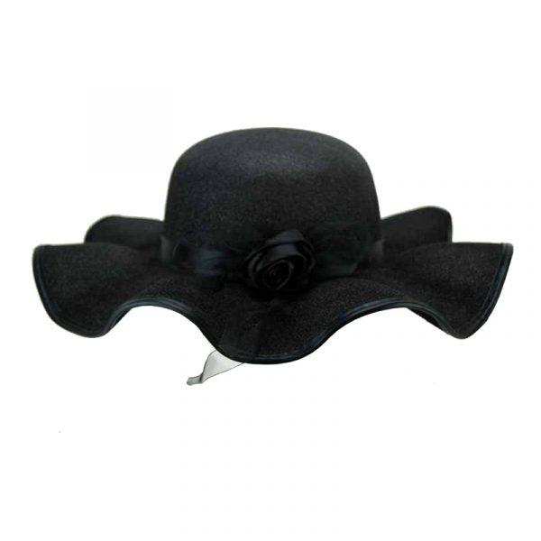 lady's fabric wavy brimmed black hat