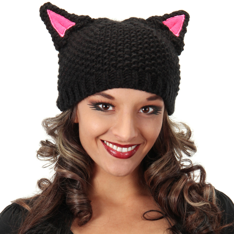 Cat hat - black hat pink ears knitted beanie - Cappel s 01ac63c7b5d