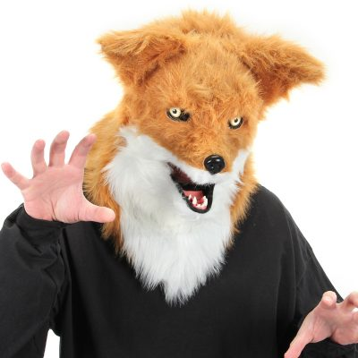 Deluxe Furry fox mask with movable chin