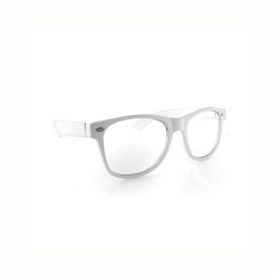 White plastic frame clear lens eyeglasses