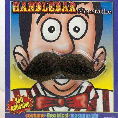 black bushy handlebar mustache