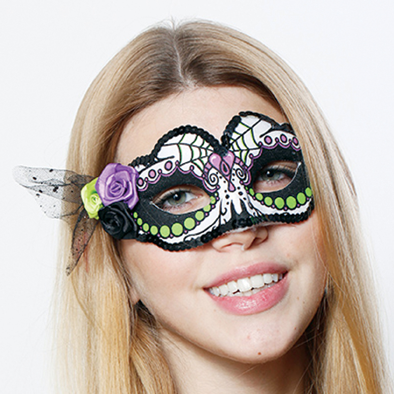day of the dead lime half mask