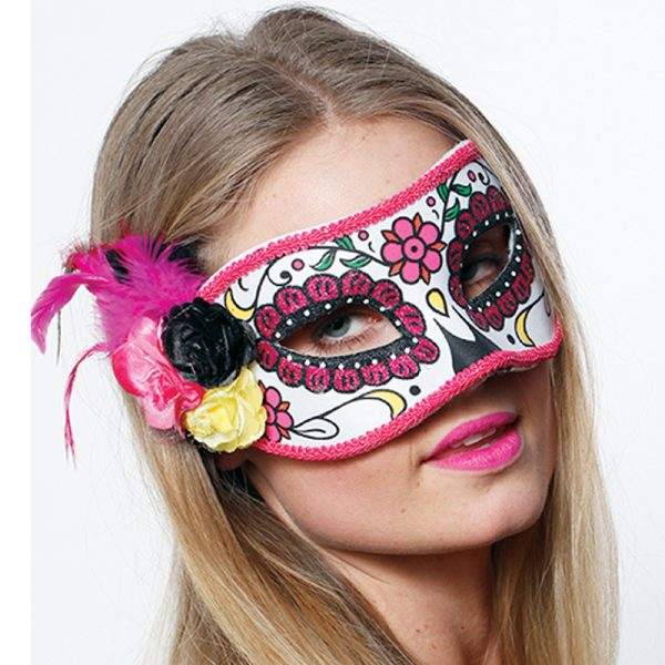 day of the dead pink half mask