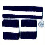 Sweatbands 80s striped blue white