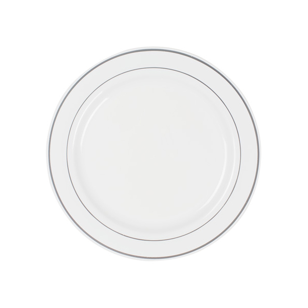 white plastic plates silver rim