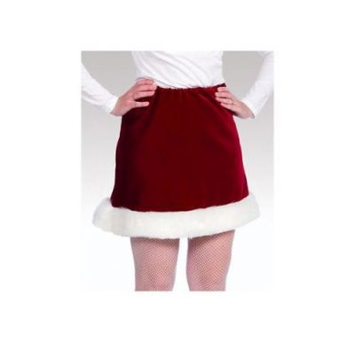 Burgundy Velveteen Mrs Santa Skirt