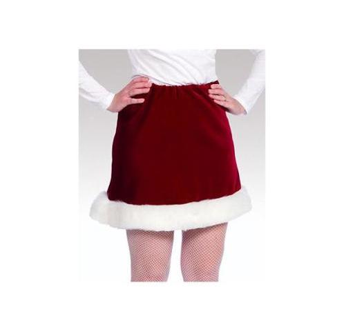 Burgundy Velveteen Mrs Santa Skirt