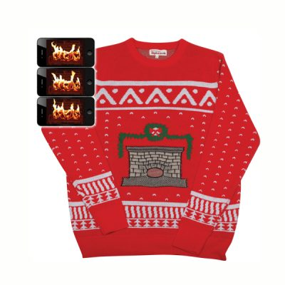 digital fireplace ugly christmas sweater