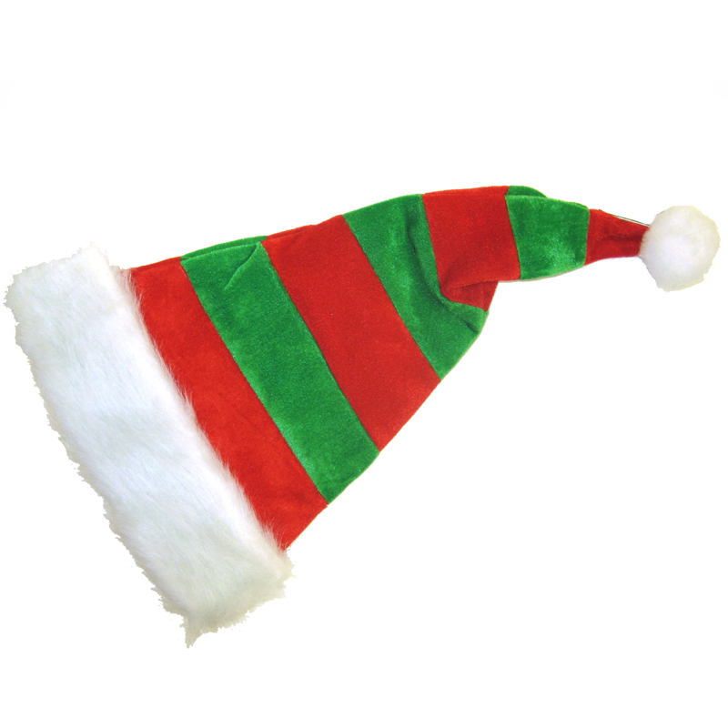 striped santa hat long velvet red green elf hat cappel s