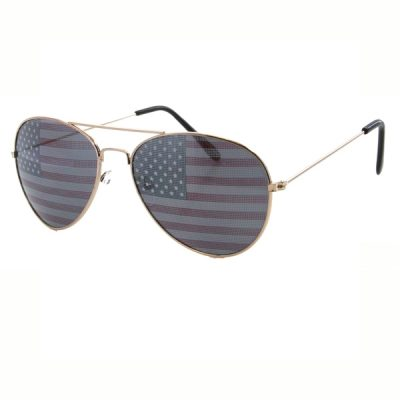 U.S. Flag Print Aviator Sunglasses
