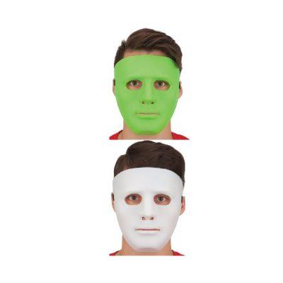 Plastic full face mask - White or Lime Green