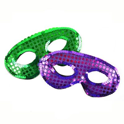 Sequin half mask Sequin eye mask purple green