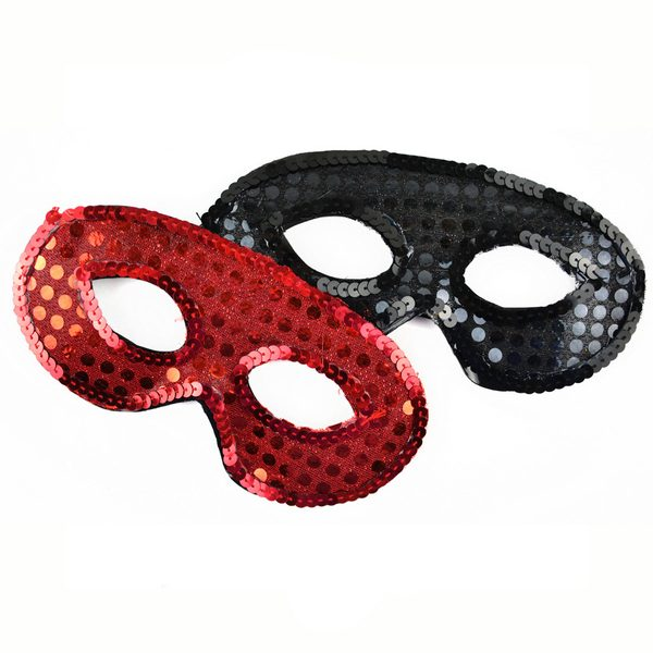 Sequin half mask eye mask red black