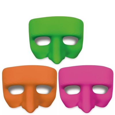 Black Light Responsive Half Mask Lime Green Pink Orange