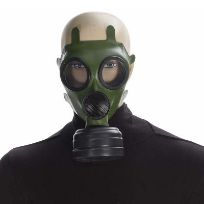 Green rubber full-face gas mask
