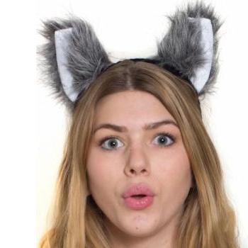 plush animal ears headband wolf