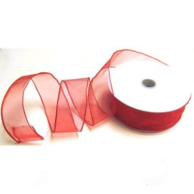 Organza Ribbon Dbl Wire Red