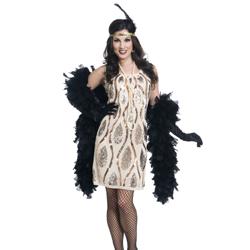 Flapper Dress w/ Sequin Tear Drop Pattern