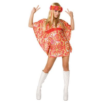 Flower Power Hippie Mini Dress