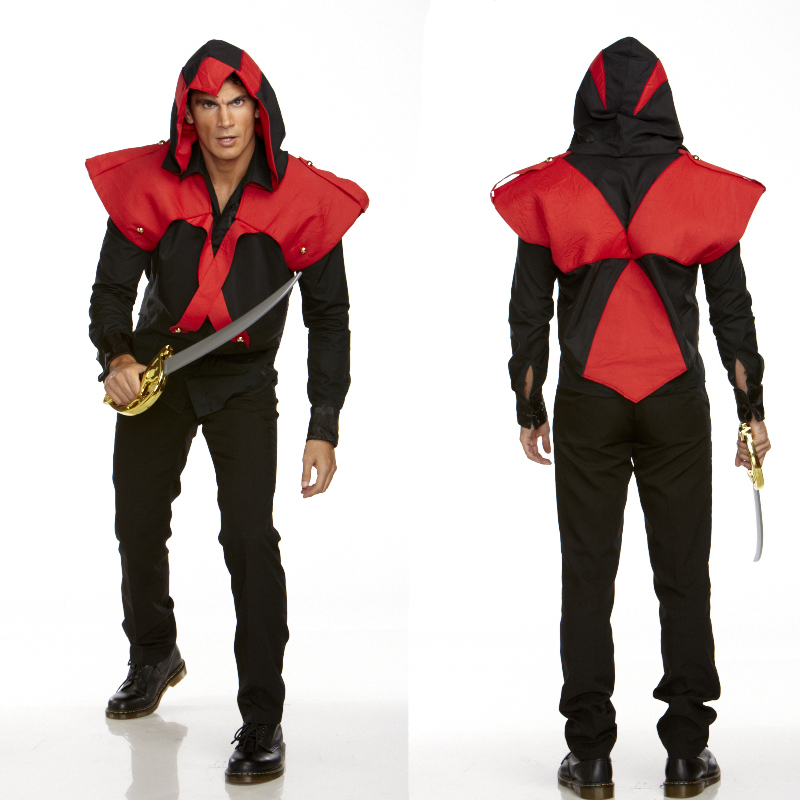 Pirate Assassin Hooded Vest Adult Costume