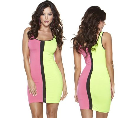 Color Block 80's Dress