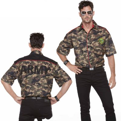 Army Shirt Camo Print Red Piping