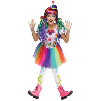 Crazy Color Clown Dress Child Costume