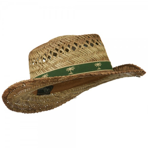 Natural Woven Straw Hat w/ Palm Tree Band