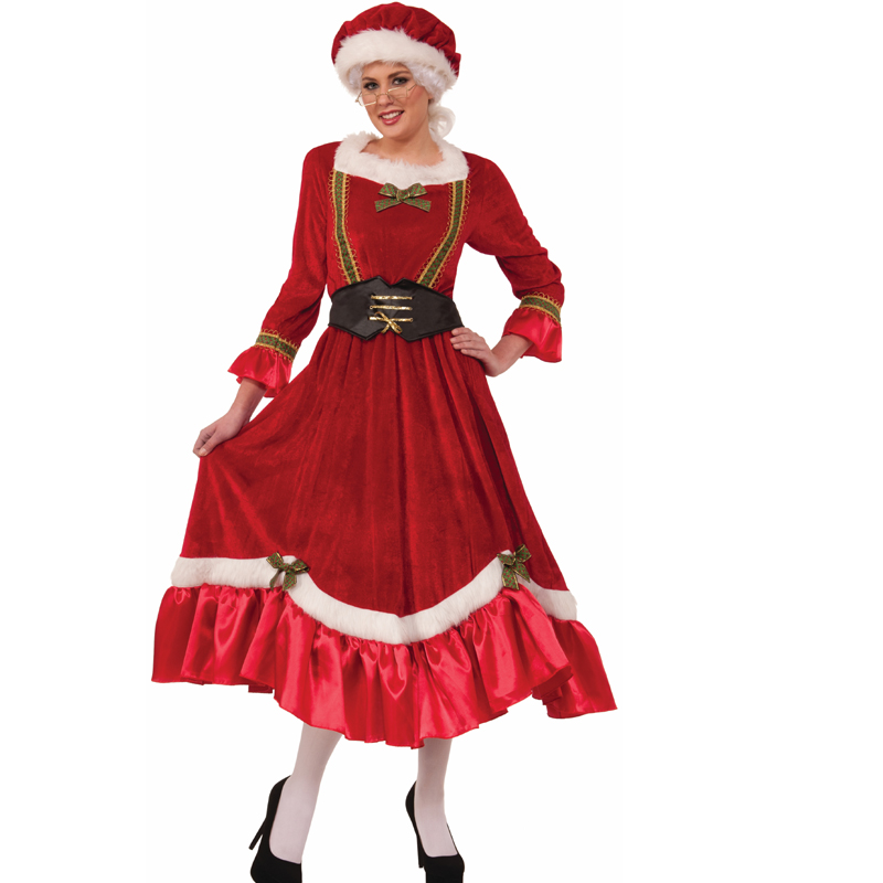 Buy Mrs Claus Velvety Soft Christmas Costume Dress Cappels