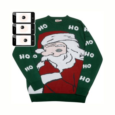 Ugly Sweater w animated Peeking Santa Eye