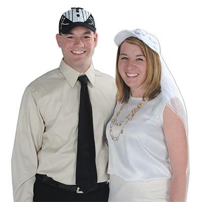 White bridal cap and veil
