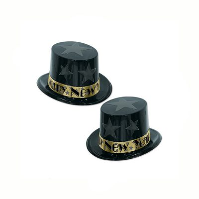 New Year's Eve Top Hat Black Gold
