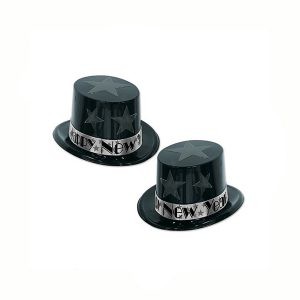 New Year's Eve Top Hat Black Silver