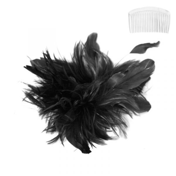 Black Costume Bendable Feather Headpiece w Comb