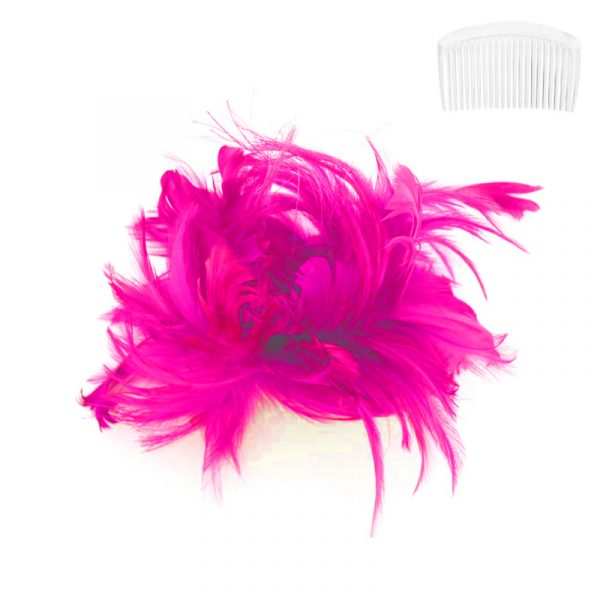 Fuchsia Costume Bendable Feather Headpiece w Comb