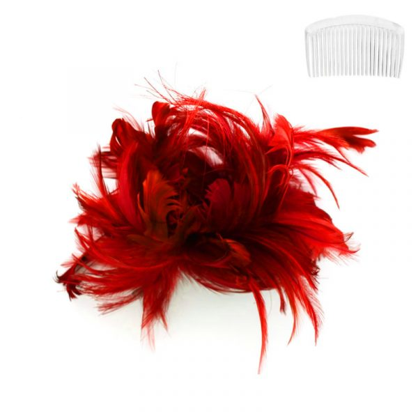 Red Costume Bendable Feather Headpiece w Comb