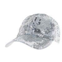 Silver Sequin Fabric Sparkle Cap
