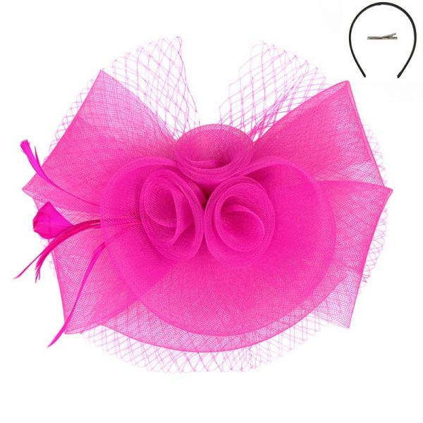 Fuchsia Mesh Triple Flower Fascinator Headpiece Hat