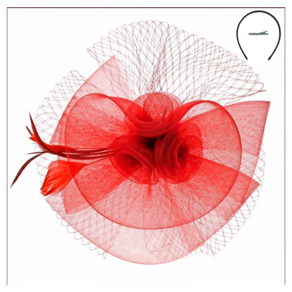 Red Fascinator Mesh/Netting, Floral with Feather Trim Headband Headpiece
