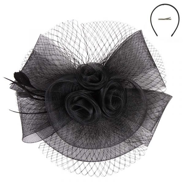 Black Mesh Triple Flower Fascinator Headpiece Hat