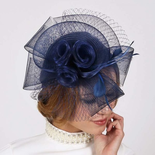 Navy-Blue Mesh Triple Flower Fascinator Headpiece Hat