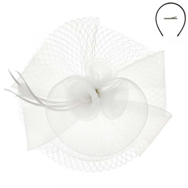 White Mesh Triple Flower Fascinator Headpiece Hat